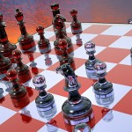 red and White Chess Board and Glass Pieces